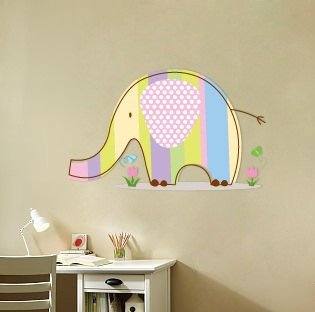 Kids Elephant vinyl wall decal with flowers grass and butterfly's