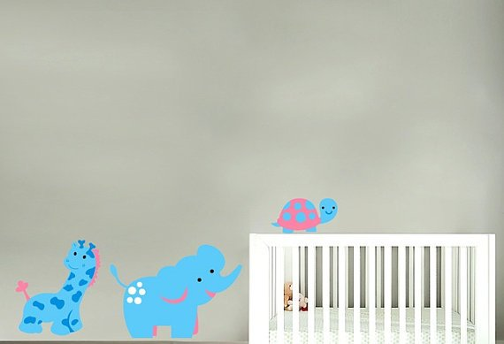 children vinyl wall decal set of 3 giraffe elephant turtle great for nursery kids room or playroom