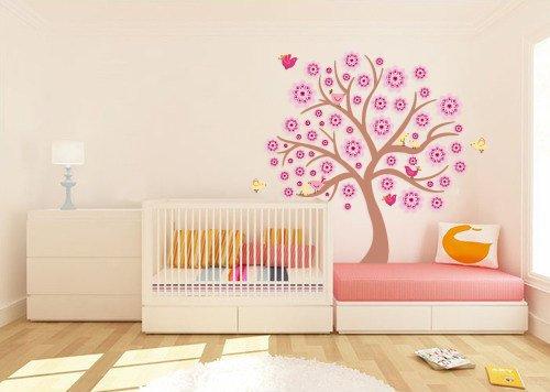 Kids tree vinyl wall decal with 10 penelope birds and JULIANNE flowers