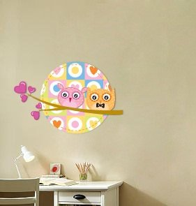 Kids vinyl wall decal of 2 owls on a tree branch with the moon