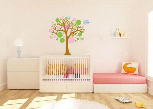 Polka dot tree vinyl wall decal with owl birds butterfly's