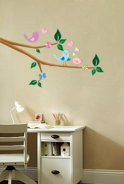 Kids tree branch vinyl wall decal with 3 birds flowers and hearts