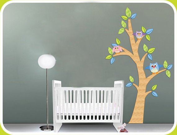 Kids vinyl wall decal Tree with 3 owls