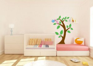 Kids vinyl wall decal Tree with 2 birds in love
