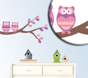 Kids tree branch with 2 owls vinyl wall decal