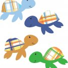 Set of 4 plaid sea turtles vinyl wall decal great for any nursery kids room