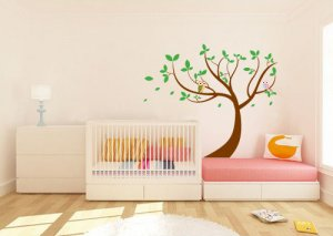 ON SALE Leaning tree vinyl wall decal with owls and blowing leaves great for nursery or kids room