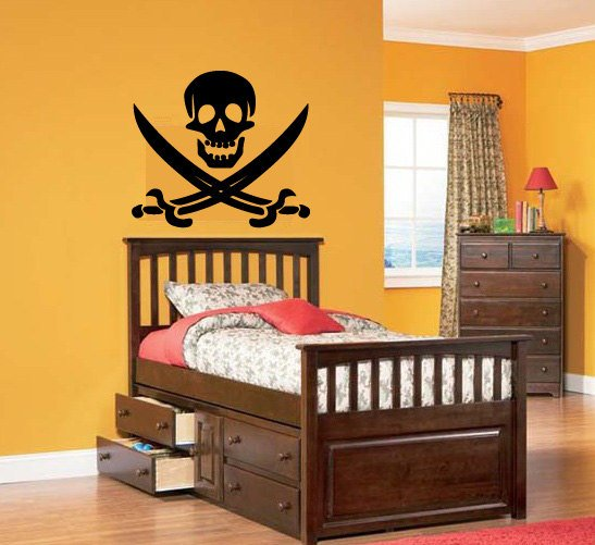 Pirate skull with pirate sword Removable vinyl wall decal