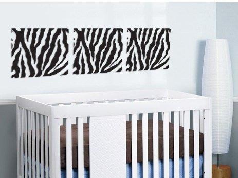 set of 3 Square panels Zebra Pattern vinyl wall decal