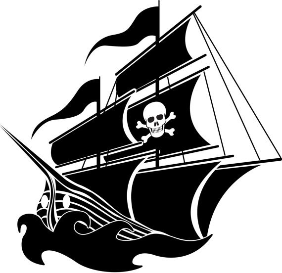 Pirate Ship boat Removable vinyl wall decal with skull