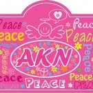 Kids Vinyl wall decal Headboard monogram initial or name peace signs flowers