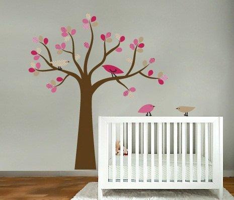 kids tree vinyl wall decal with 4 penelope birds Cute for nursery or girls room