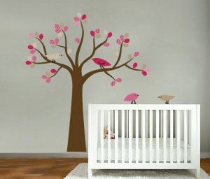 kids tree vinyl wall decal with 4 penelope birds Cute for nursery or girls room
