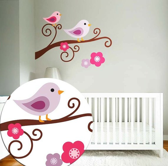 tree branch vinyl wall decal with 2 birds and flowers with BananaFish Woodland bedding
