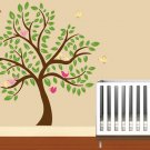 "Kids childrens tree vinyl wall decal with 10 penelope birds and leaves 84"" tall"
