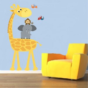 childrens removable vinyl wall decal Elephant Giraffe Monkey Birds great for nursery kids playroom