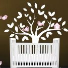 Nursery Kids tree vinyl wall decal with 6 birds and a cute birdhouse