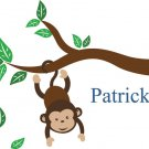 Kids tree branch vinyl wall decal with monkey hanging from branch and bird
