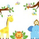 cute nursery wall art decal for children tree branch birds elephant lion giraffe monkey
