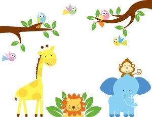 cute nursery wall art decal for children tree branch birds elephant lion giraffe monkey
