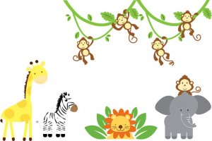 Kids removable vinyl wall decal 2 tree branches w/ Zoo animals great for nursery or kids playroom