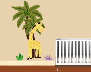 Kids Palm tree with giraffe and grass removable vinyl wall decal cute for any kids room