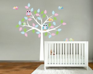 Nursery Kids tree vinyl wall decal with 6 birds and 2 owls with big pattern leaves