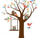 Kids tree vinyl wall decal with squirrel owls and pattern leaves and a swing with owl swinging