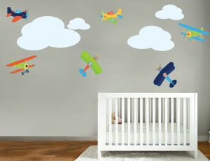 Kids childrens vinyl wall decal Vintage AirPlanes set of 6 and 4 clouds Great for boy nursery