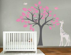 Kids tree vinyl wall decal with birds owls giraffe too cute
