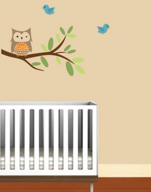 Kids vinyl wall decal Tree branch with owl and birds