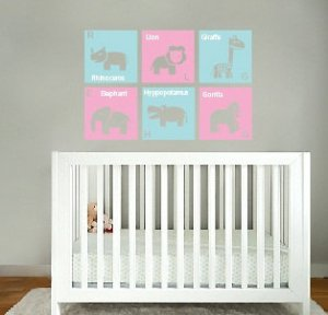 kids children's Modern animal squares set of 6 with letter and name vinyl wall decal girls nursery