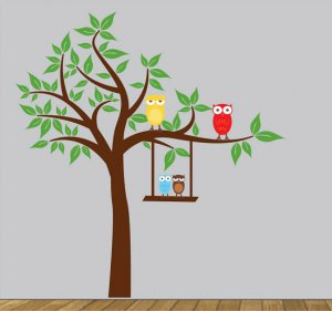 Kids Tree with long branch 4 owls and a swing wall vinyl decal