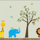 nursery wall art decal children Tree and tree branch elephant giraffe monkeys lion birds