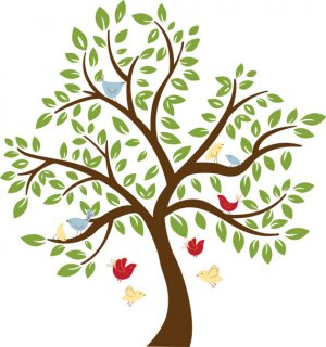 Kids childrens tree vinyl wall decal with 10 birds and leaves