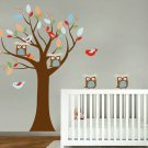 Kids tree vinyl wall decal with birds owls and pattern leaves also comes with 2 FREE owls