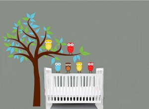 Kids Tree with 2 owls and set of 4 FREE owls you can use for tree or a branch or along a crib/bed