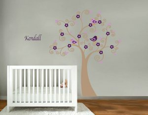 Kids vinyl wall decal Tree with flowers birds and FREE childs name cute