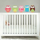 Kids set of 5 owls vinyl wall decal cute for a nursery or childs room