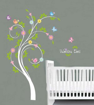 Kids swirl tree vinyl wall decal with birds flowers butterfly and Childs name letters