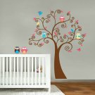 Cute Kids tree with 5 owls and birds vinyl wall decal cute for a nursery