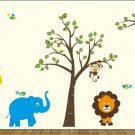 ON SALE Kids wall decal Tree and tree branch with Elephant Giraffe Monkey Lion Birds