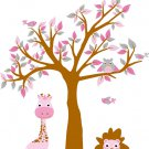 kids vinyl wall decal tree and tree branch with owls birds lion giraffe