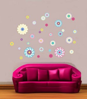 Kids teen children's set of 32 flowers vinyl wall decal