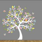 Kids tree vinyl wall decal with owls and butterflys