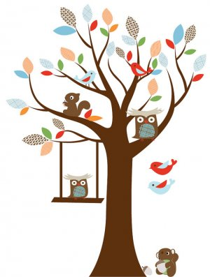 Kids tree vinyl wall decal with squirrel owls and swinging owl
