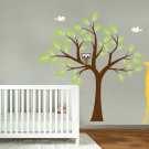 Kids vinyl wall decal Tree with Giraffe owl and birds