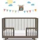 owl on a banner vinyl wall decal with clouds and the moon