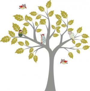 kids removable vinyl wall decal Tree with owls