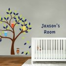 kids vinyl wall decal Tree with 4 owls leaves and childs name